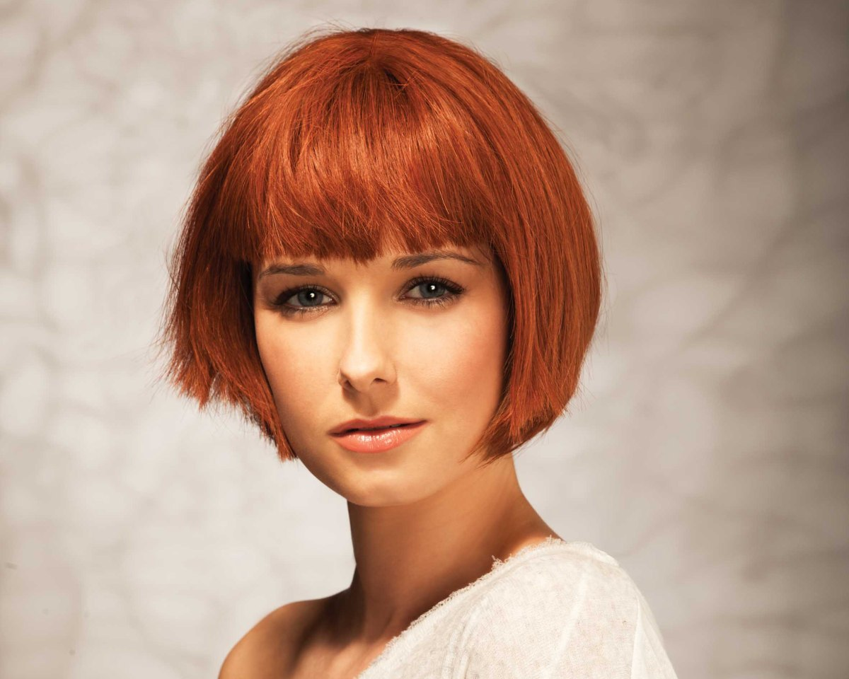 Chin Hair Styles: Chin Length Bob With Just Above The Eye Brows Bangs