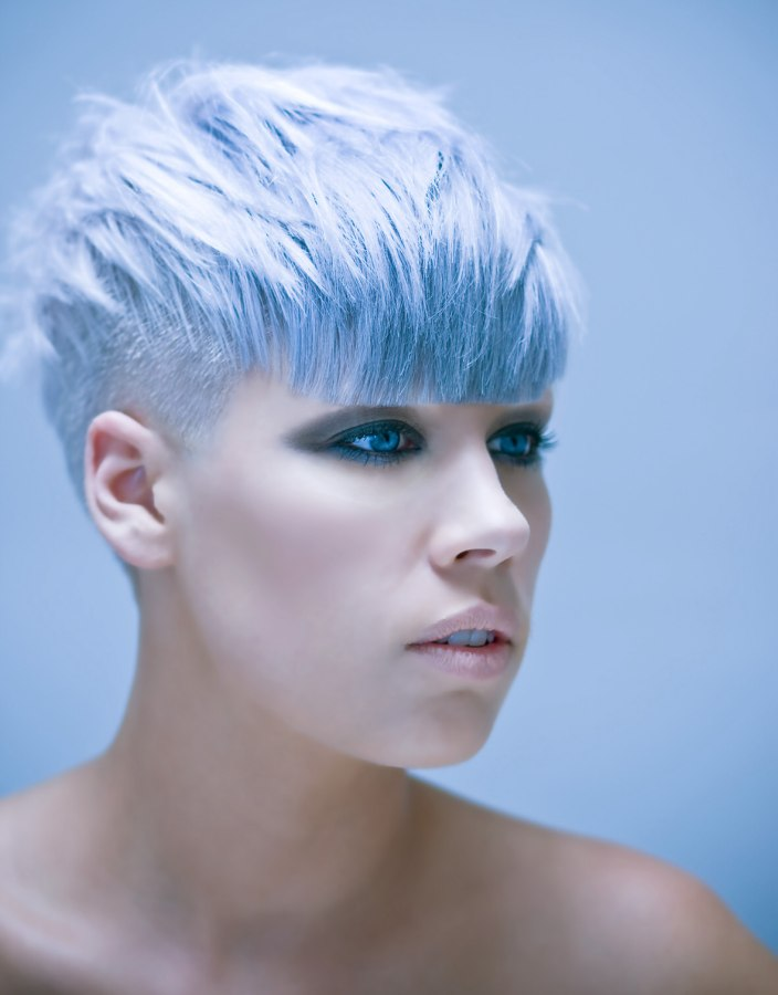 Short Blue Hair With Buzzed Sides