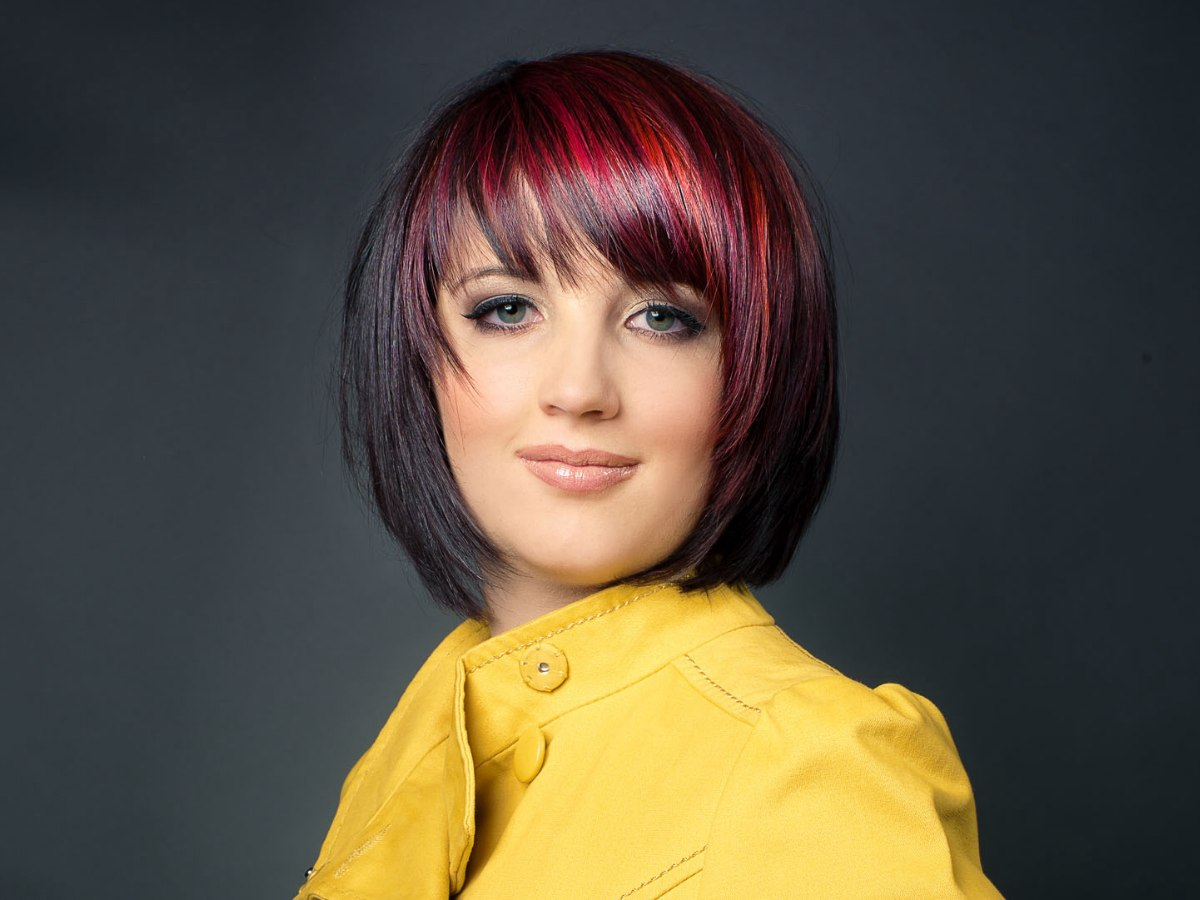 Red and purple highlights for black hair