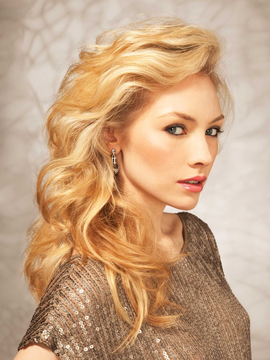Long Golden Blonde Hair With A Lifted Side Swept Fringe