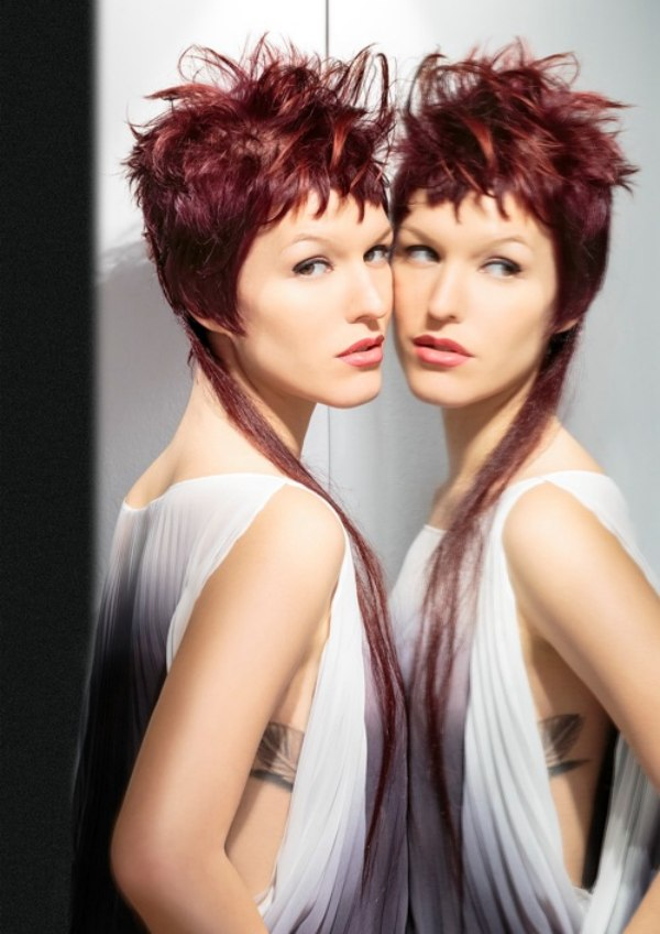 Short Hairstyle With Wild Textures And A Very Long Extension