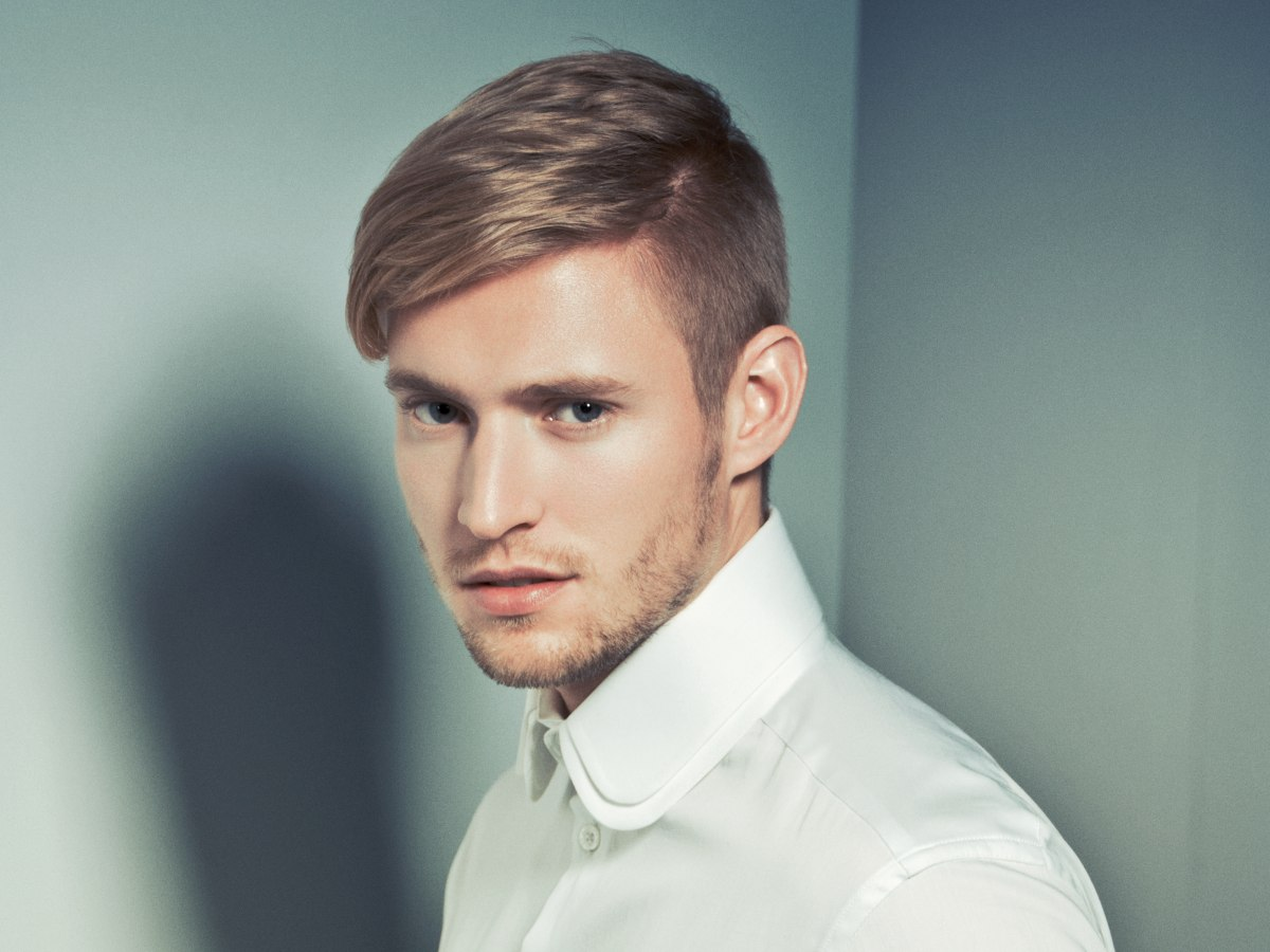 Haircut with clipped sides for modern men