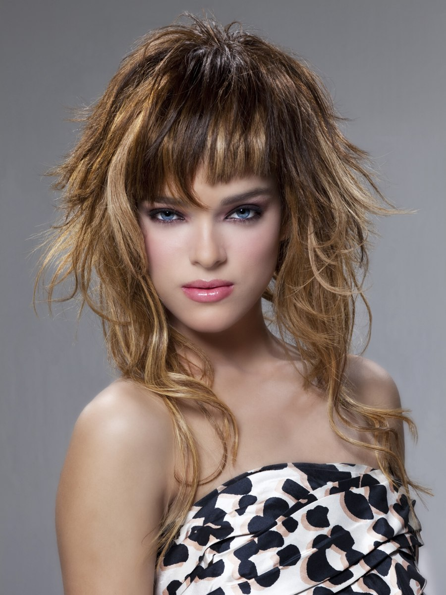 Long Hair With Varying Lengths Curls And Bangs With Two