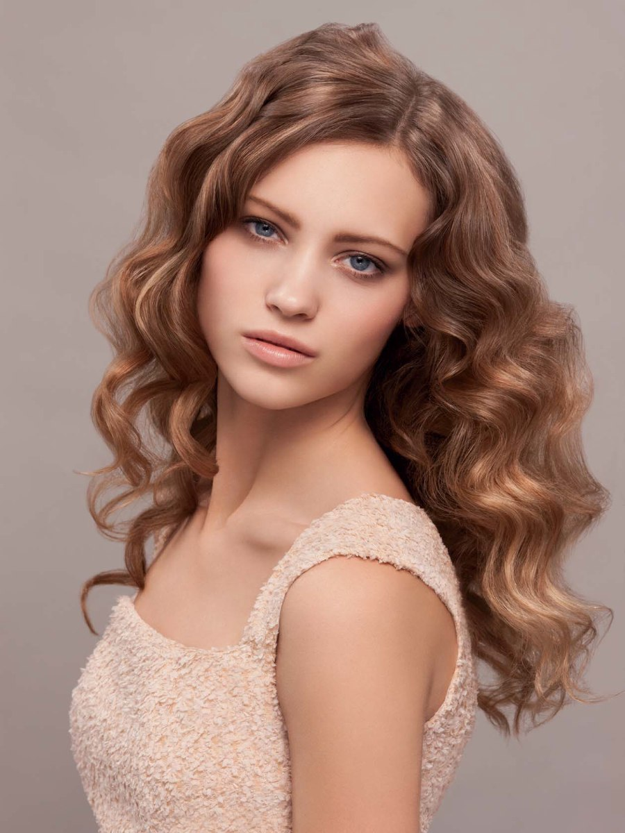 Long Dark Blonde Hair With A Romantic Wave Pattern