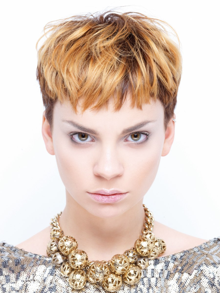 Punk Inspired Pixie With Clipped Sides And Neck Short Fringe