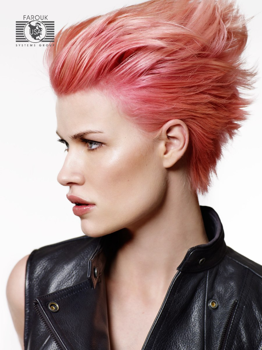 Short Hair With A Rose Color Worn Punky Or With The Hair