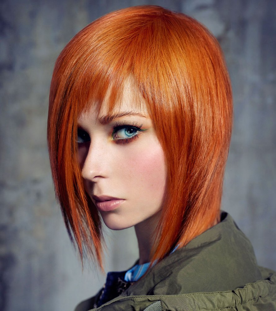 Lava red hair with a warm tone that matches blue eyes ...