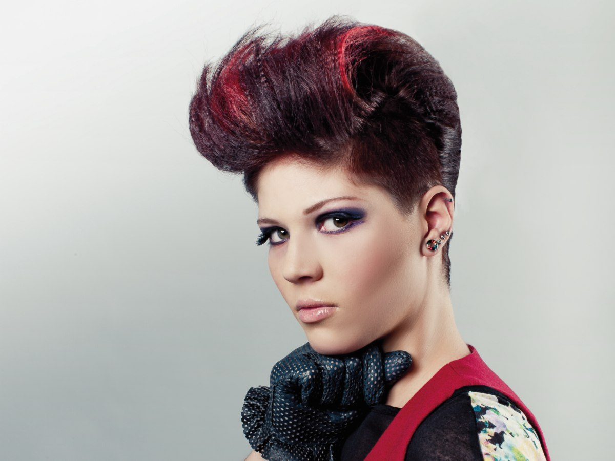 8 Hairstyle: Rockabilly Updo With Crimped Hair And Slicked Back Sides