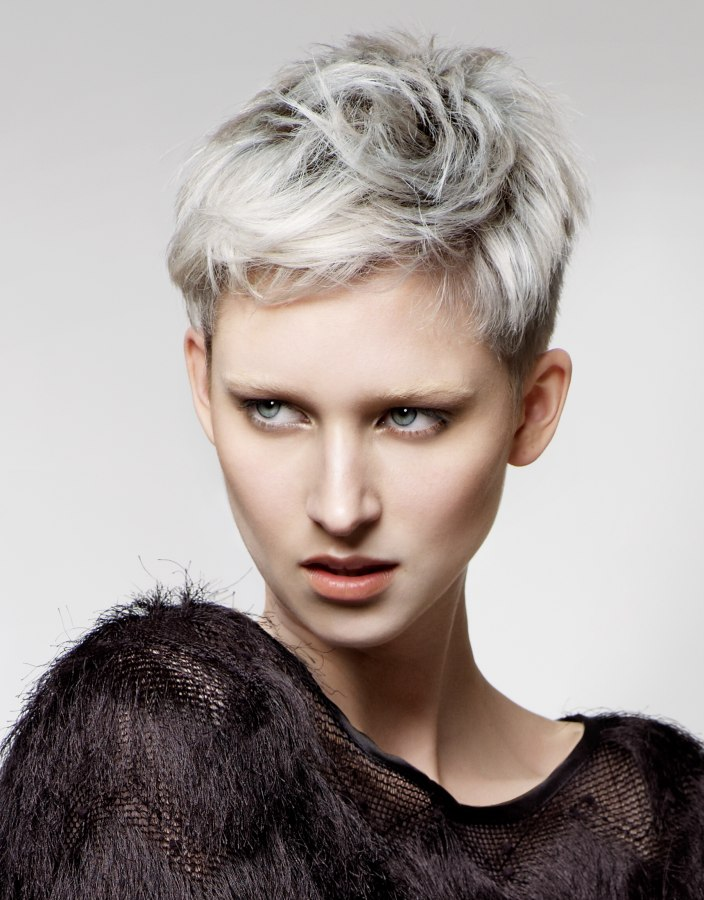 Short Crop Silver Metallic Hair Color With A Hint Of Blue - Silver hair styles