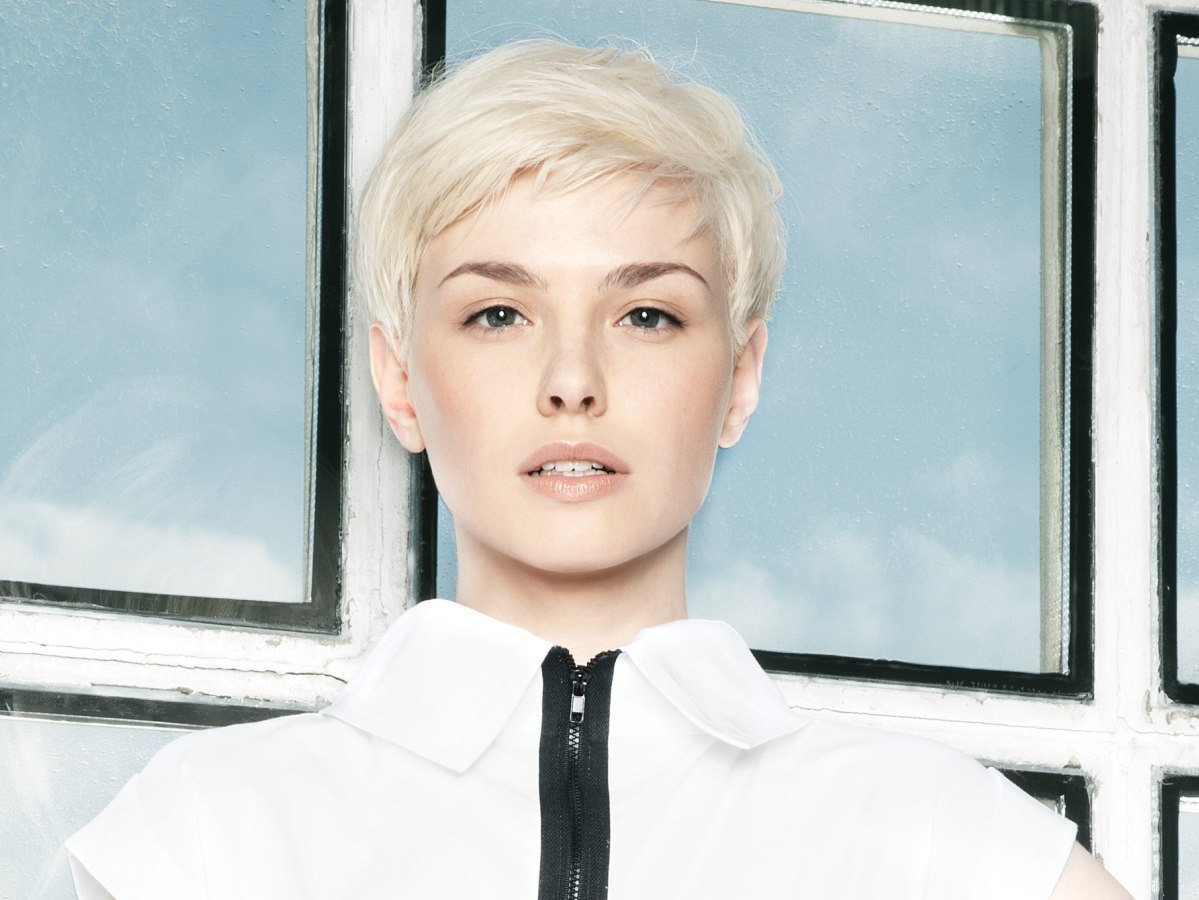 Tremendous Short Haircut With Soft Lines For Platinum Blonde Hair Short Hairstyles Gunalazisus