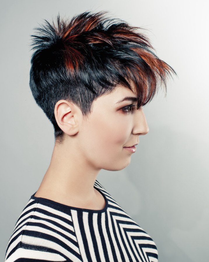 Incredible Short Japanese Punk Hairstyle Black Hair With Copper Highlights Hairstyle Inspiration Daily Dogsangcom