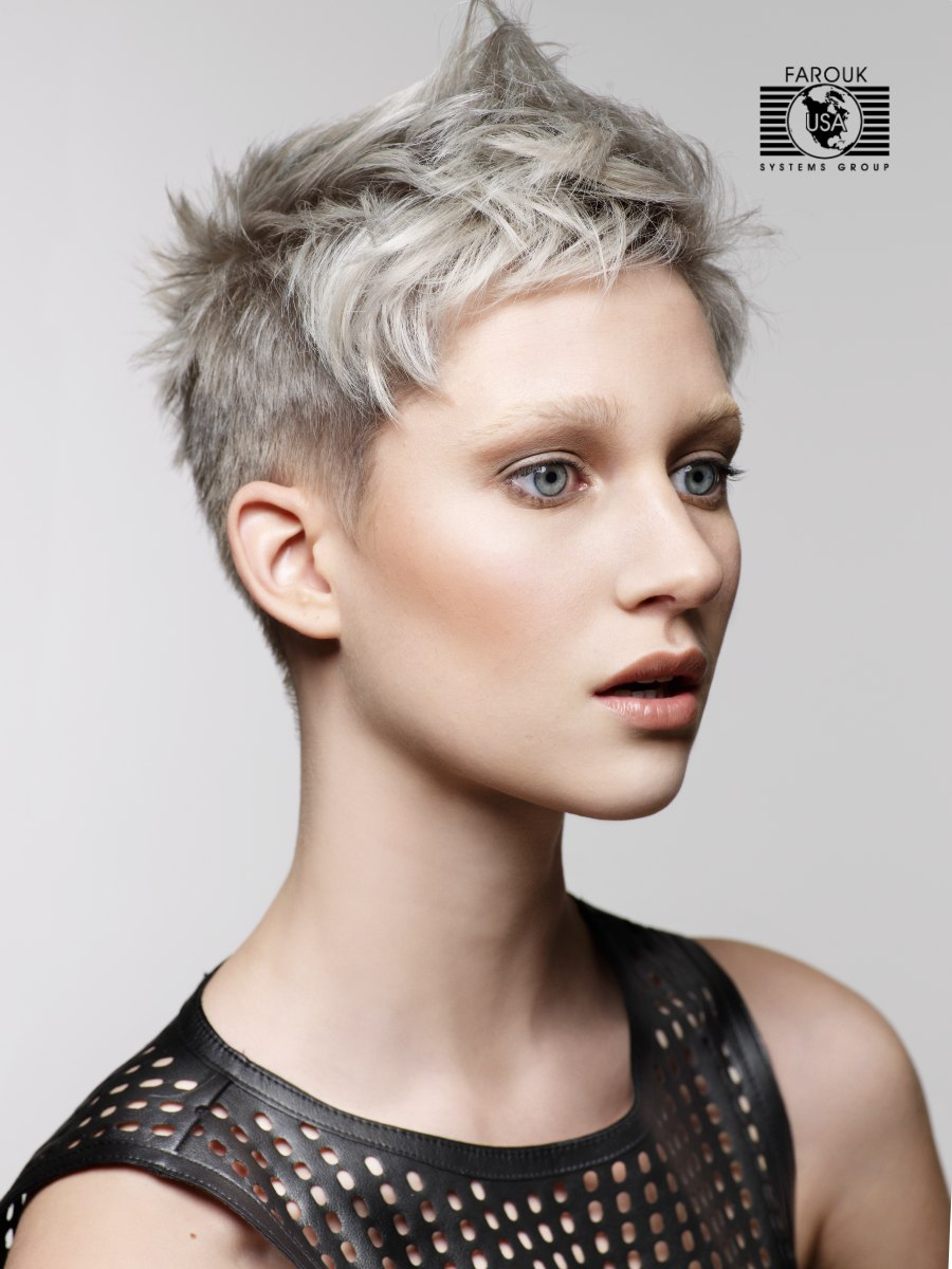 Short Crop Silver Metallic Hair Color With A Hint Of Blue
