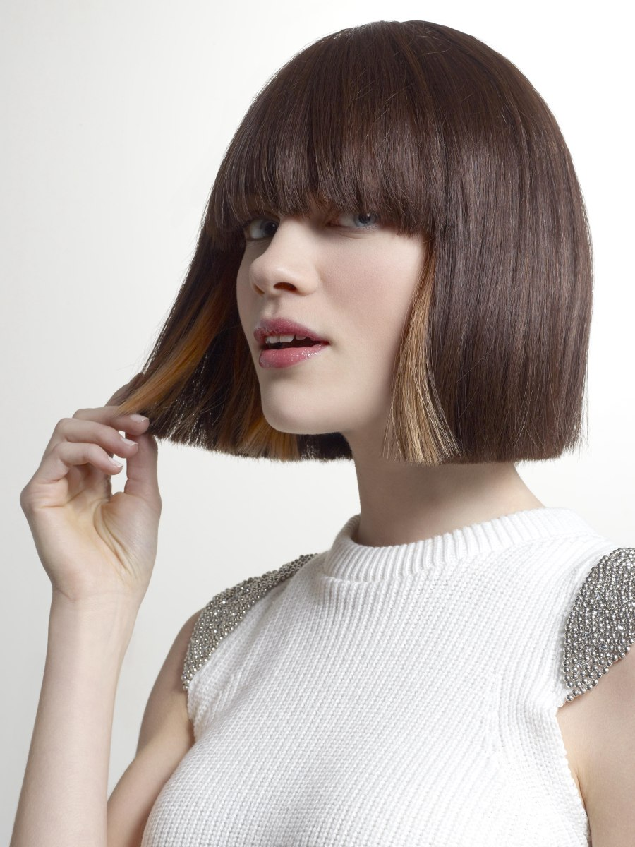 Two Toned Bob With A Straight Cutting Line And Soft Fringe
