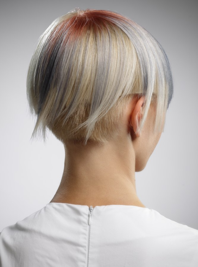 Short hair with undercut, clipped texture and a bowl shape