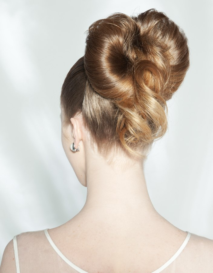 hair up styles images up style with the hair slung to a large bow 8198