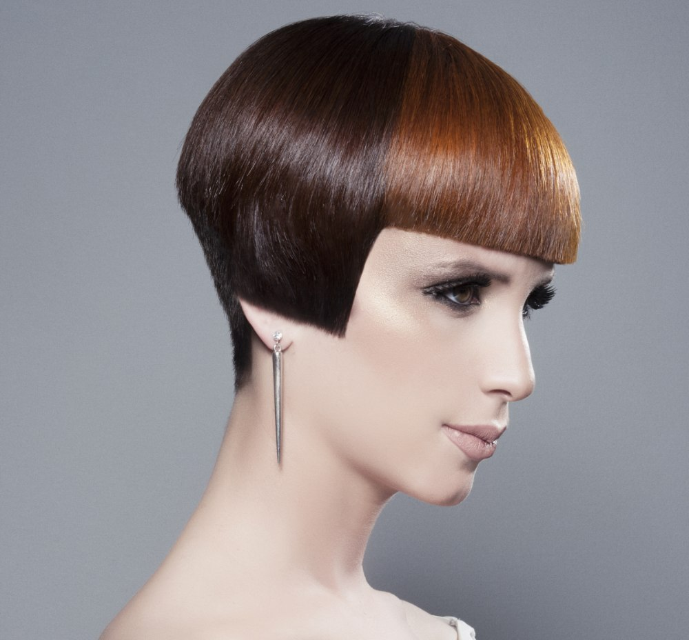 Very short bob cut eye make up matching the hair color very short bob cut and bold hair colors urmus Image collections