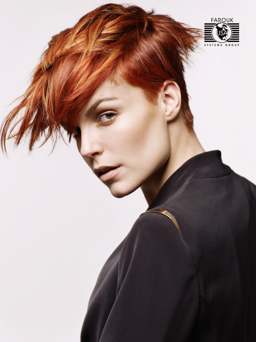 Copper And Gold Hair In A Short Layered Style With A Short