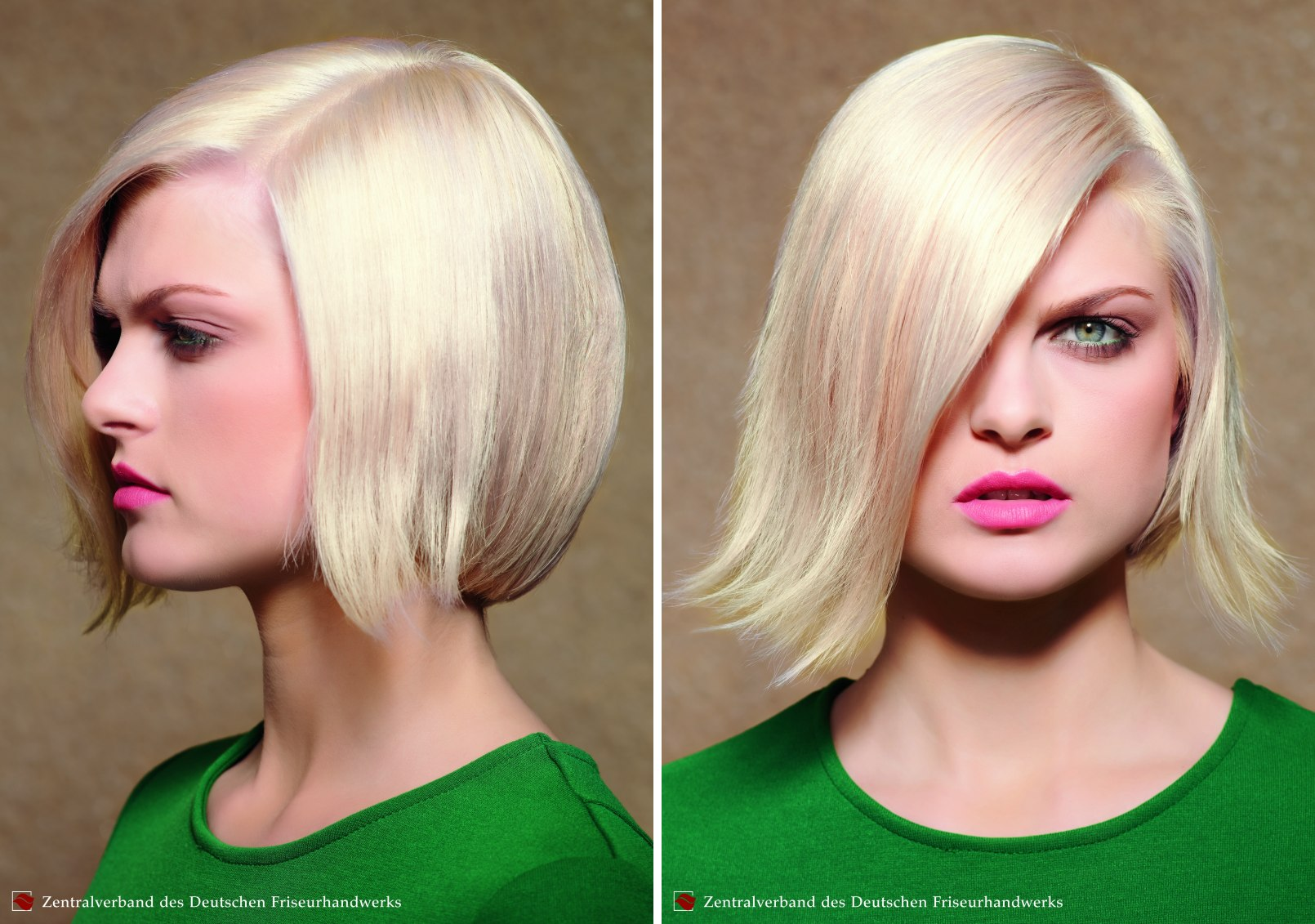 Rounded chin length bob hairstyle with the front curved outward