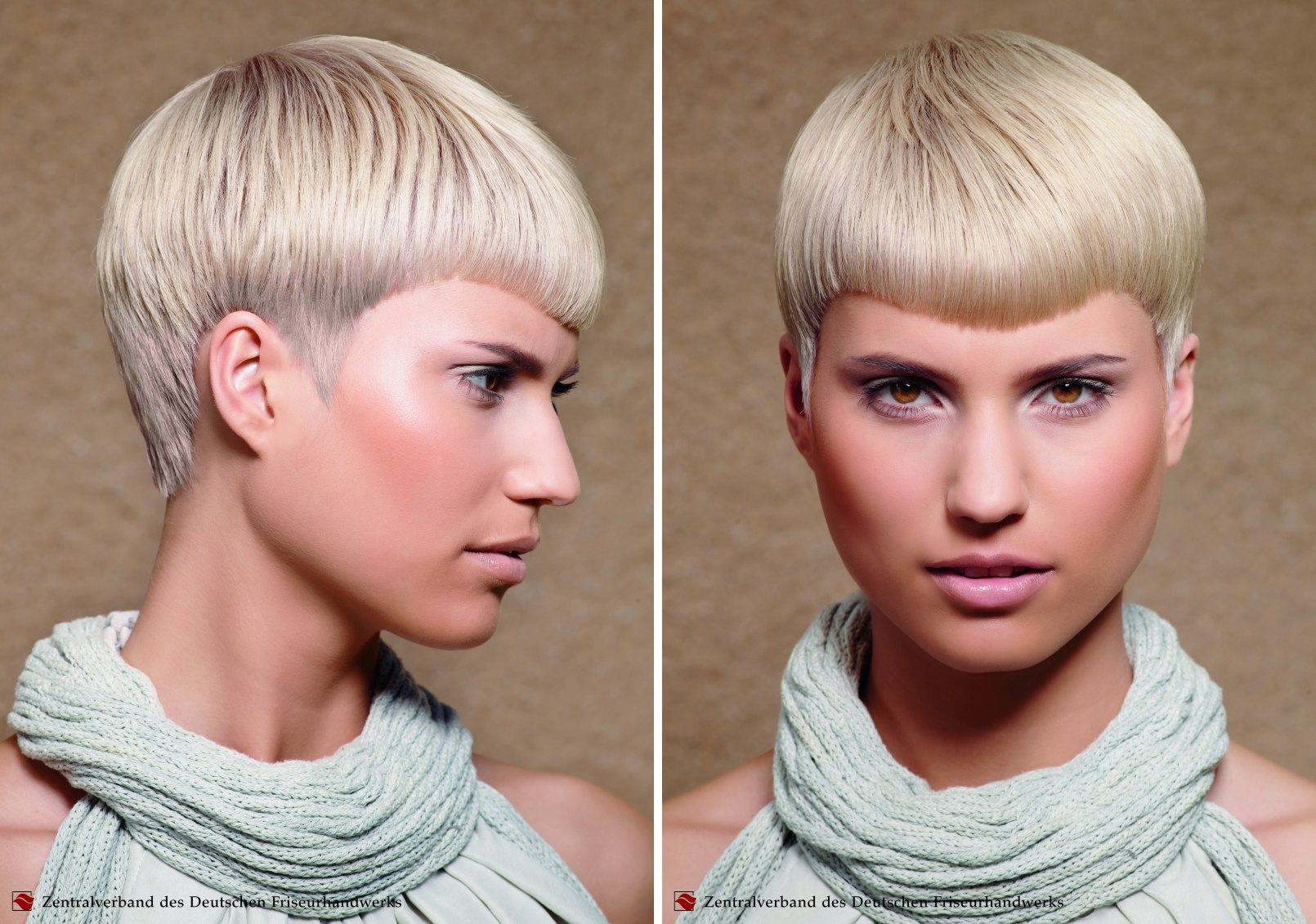 Short Haircut With Pointy Sideburns And Blonde With Silver
