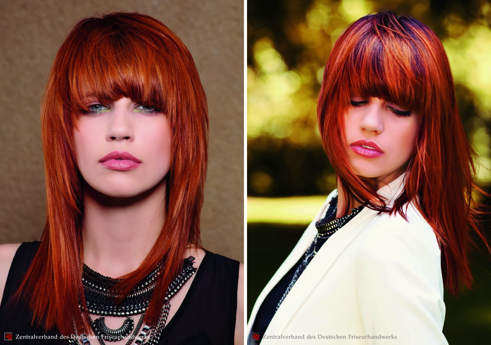 Long Tapered Hairstyle Deep Fringe Red Hair