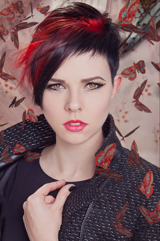 Short black hair with red color accents