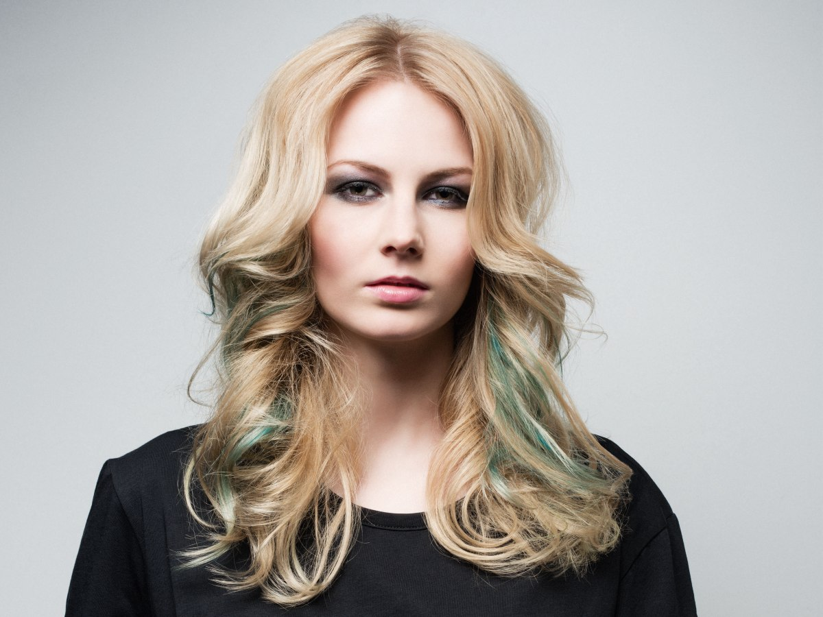 Long Blonde Hair With Emerald Green Color Effects