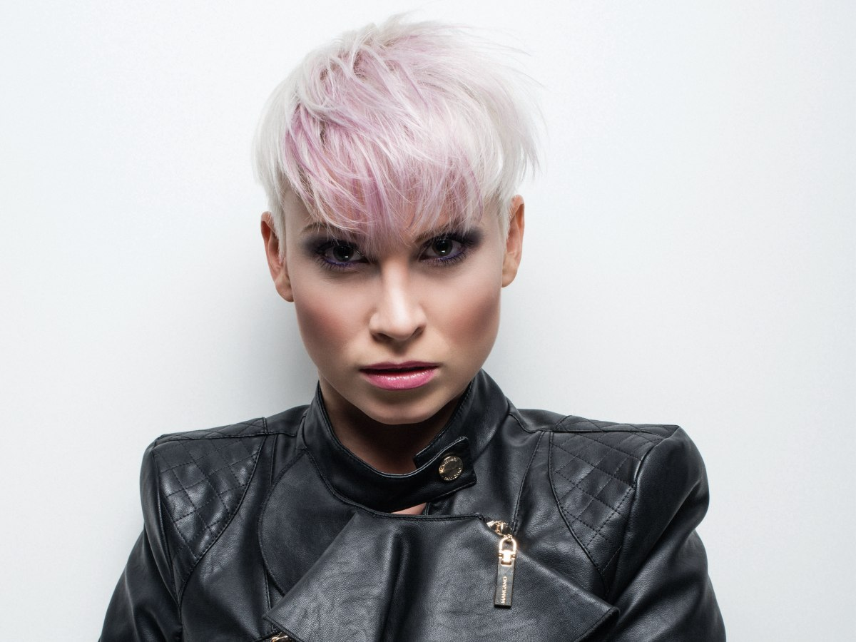 Super Short Blonde Hairstyle With A Touch Of Pink
