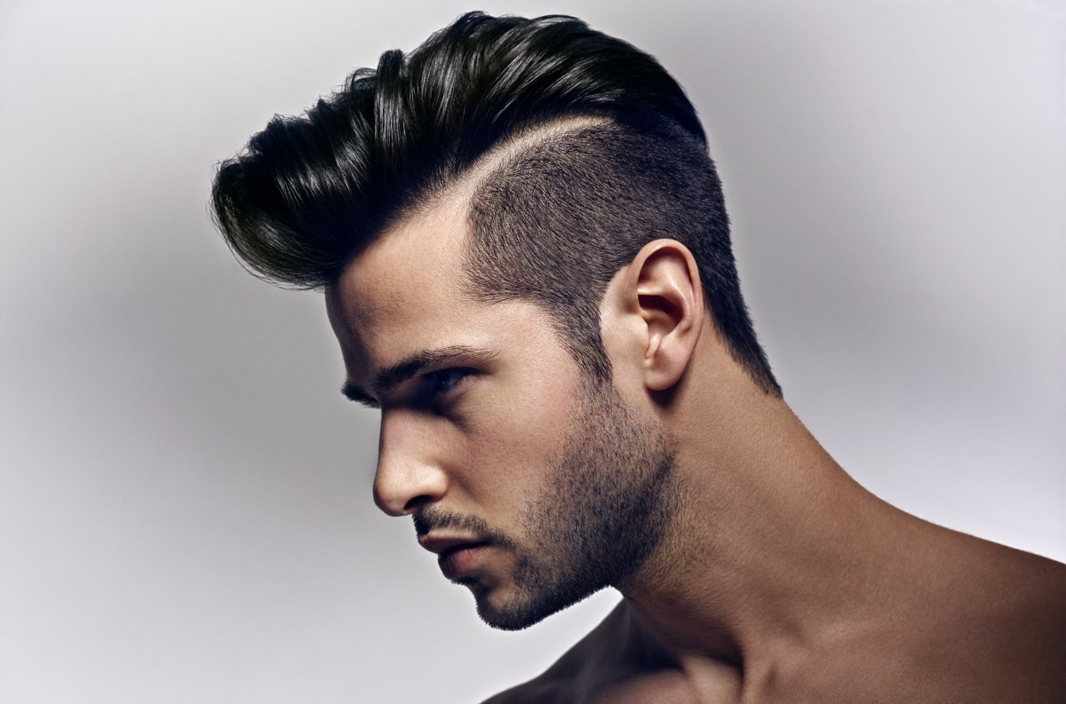 Hair Cut Style For Men Men's Hairstyle With A High Quiff And Clipper Cut Sides