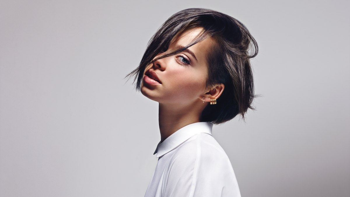 dynamic short hairstyle with clipped undercut sides