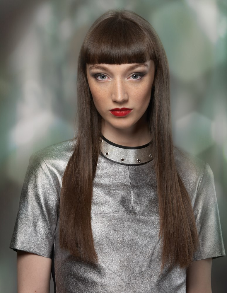 Long Hair With Wide And Straight Bangs