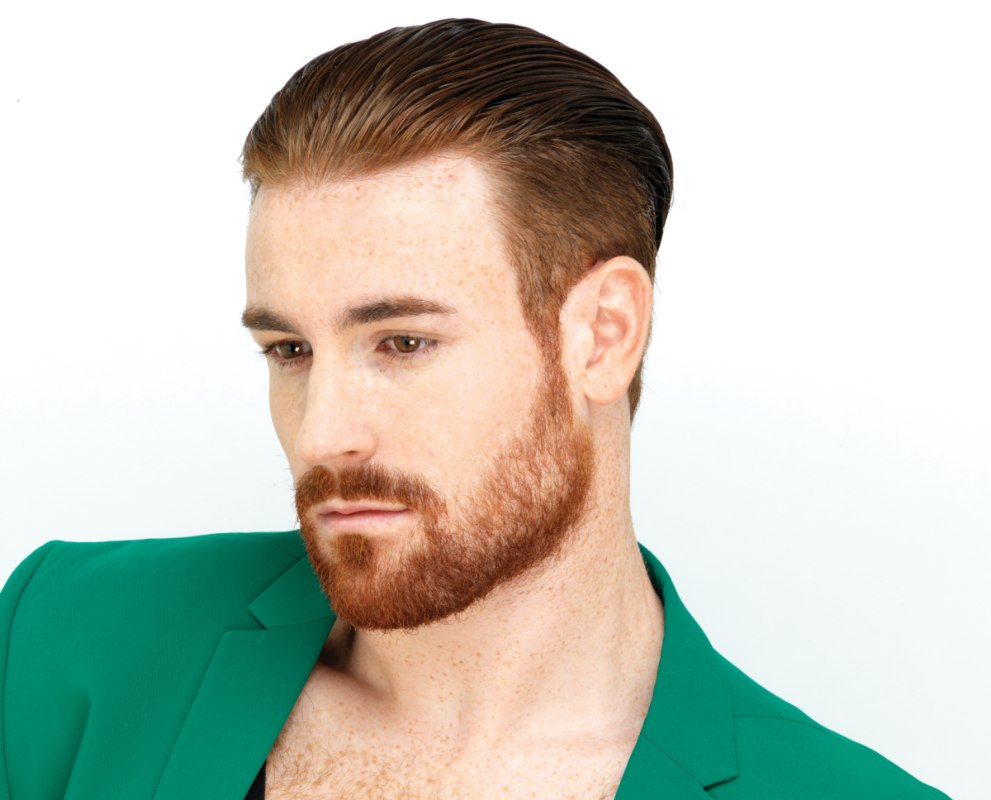 Masculine Style With A Beard And Undercut Hair Side View
