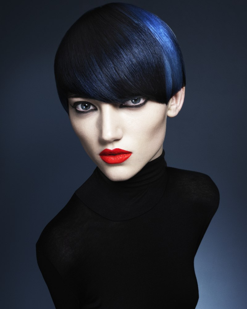 Navy Blue Hair With An Electric Blue Ray That Appears To