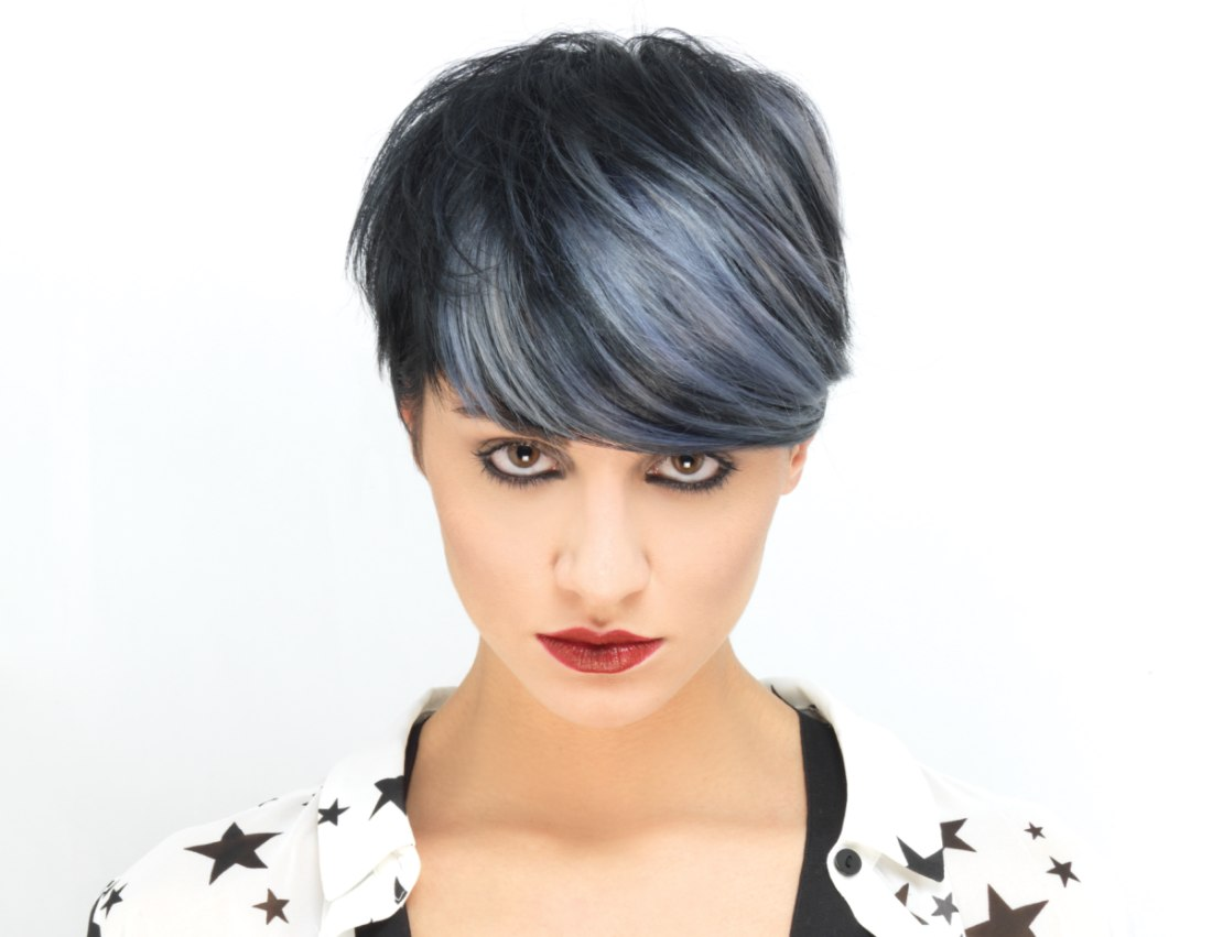 Short Black Hair With Silver Highlights Pixie