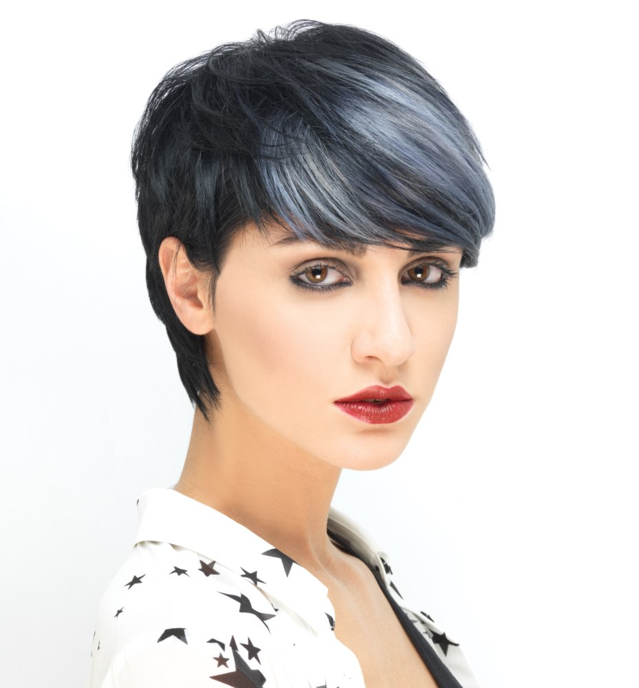 Short black hair with silver highlights | Pixie