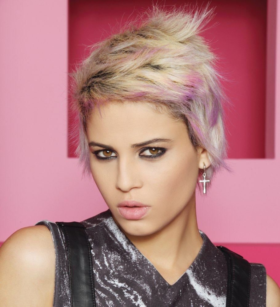 Short Hair With Contrasting Black Silver And Purple Colors