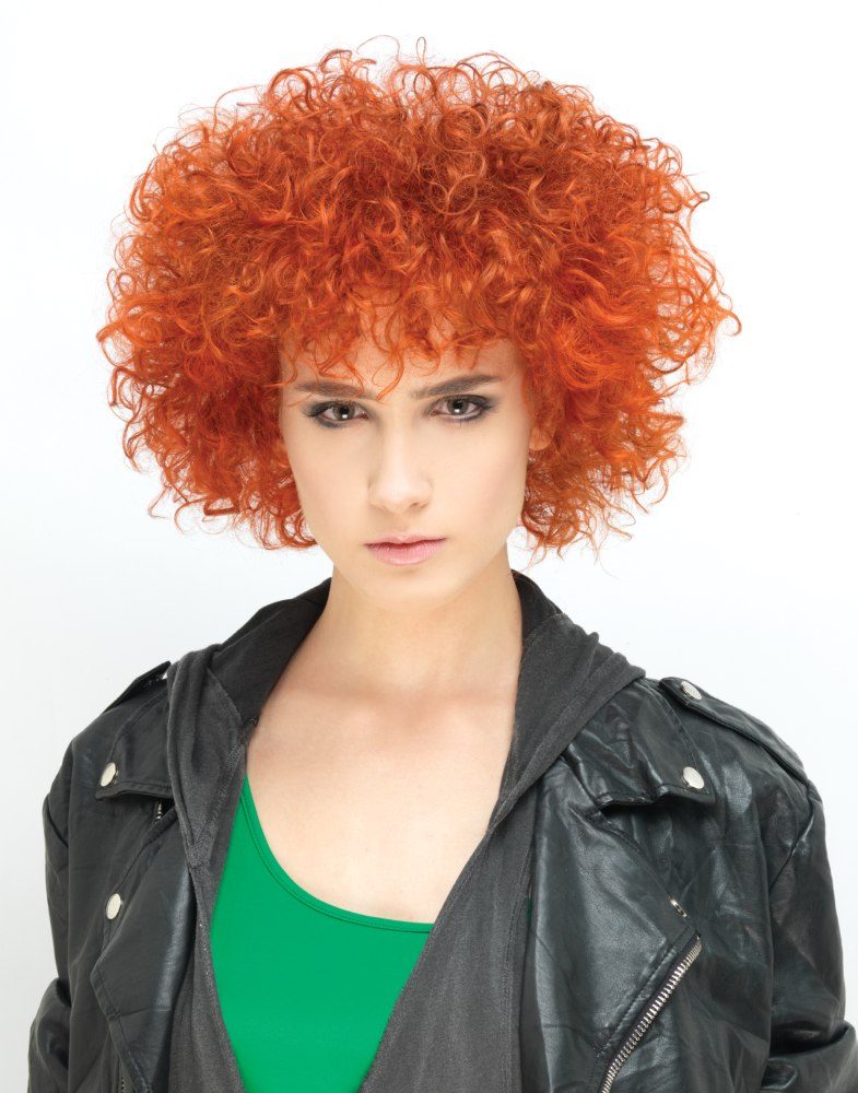 Orange Hair With Tiny Curls And A Round Afro Shape