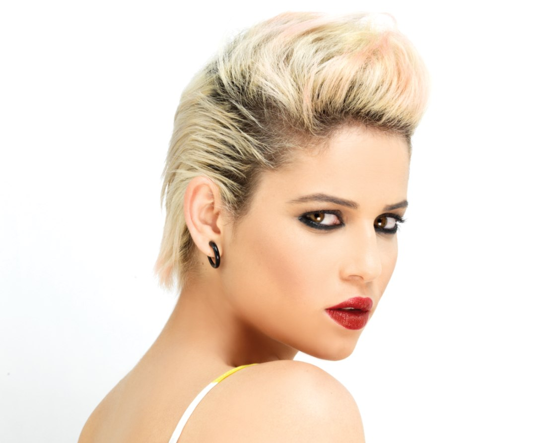 Hairstyle: Radical Short Hairstyle With A Silver Hair Color And Dark