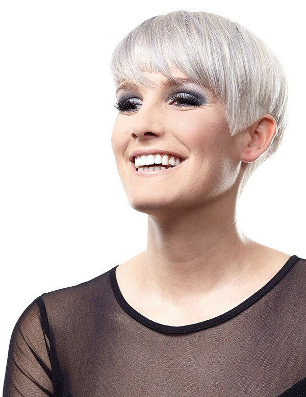 Geometric Pixie Cut For Hair With Shades Of Gray And Silver