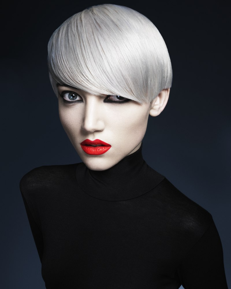 Short Hair With A Platinum Color Which Looks Like Silver