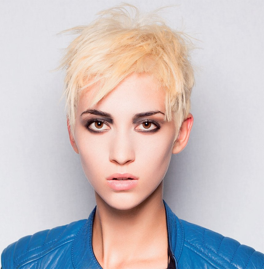 Radical Short Hair Cut With Varying Lengths