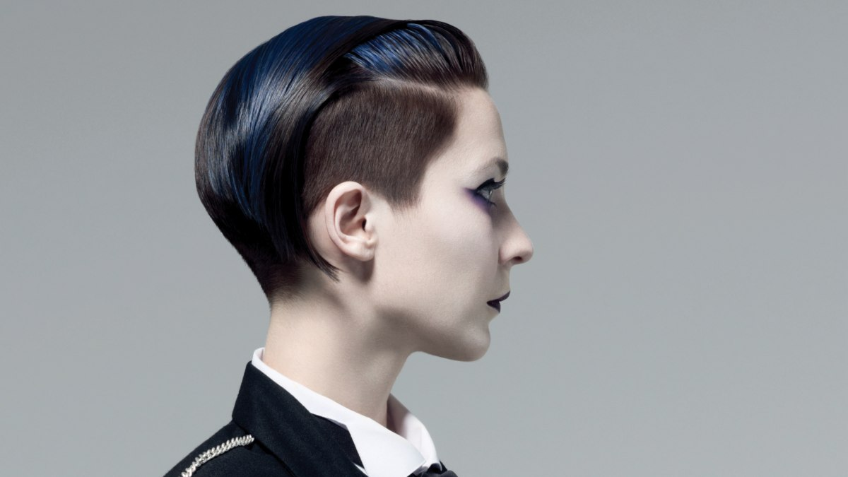 Short Undercut Hair With Free Ears And A Blue Tint