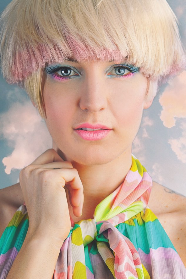 Short Bowl Shaped Cut In A Blonde With Strawberry Pink