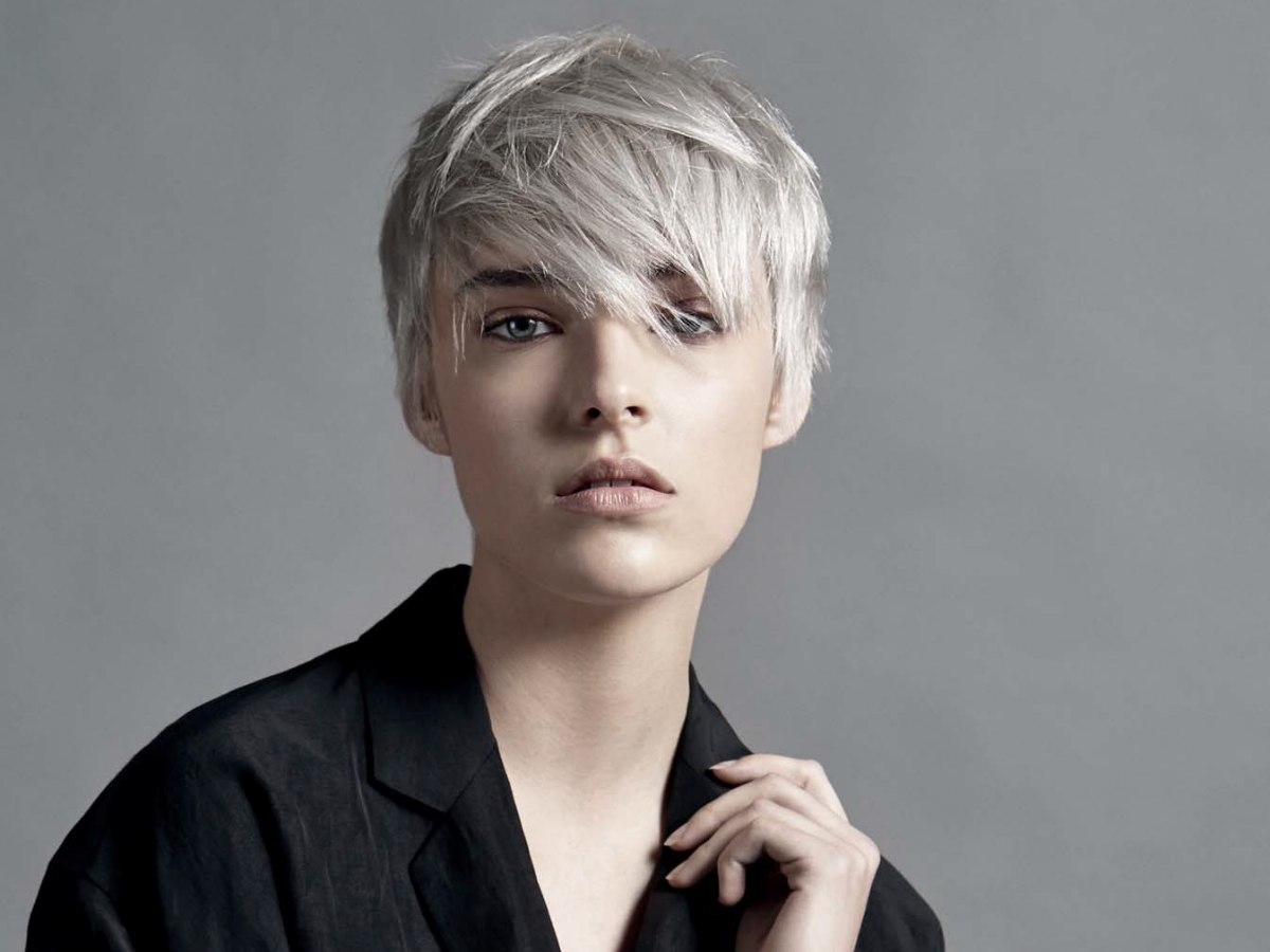 Short Hair With Layers And A Cool Gray Color