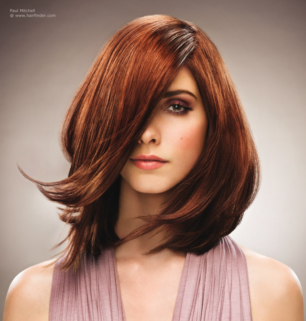 Cut To Bring The Best Out Of Thick Brown Hair With Copper