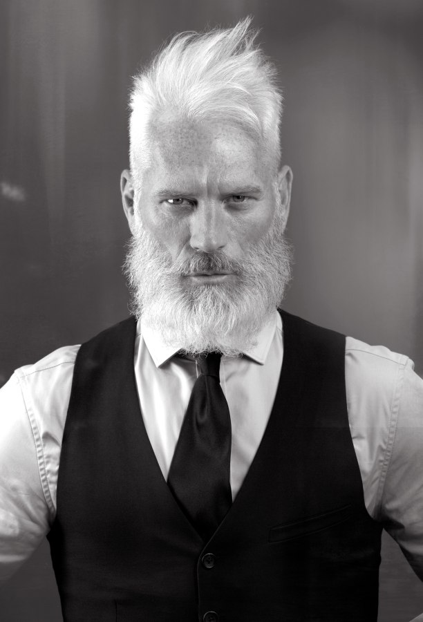 Wild And Rugged Look With A Long Beard For Older Men