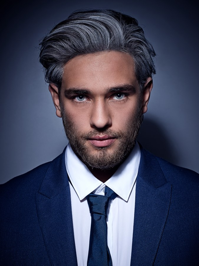 Fashionable Gray Hair Color With Black Streaks For Men
