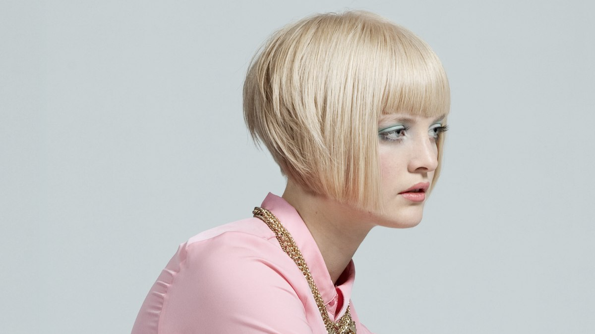 Short Bob Haircut With A Rounded Back And A Steep Graduation