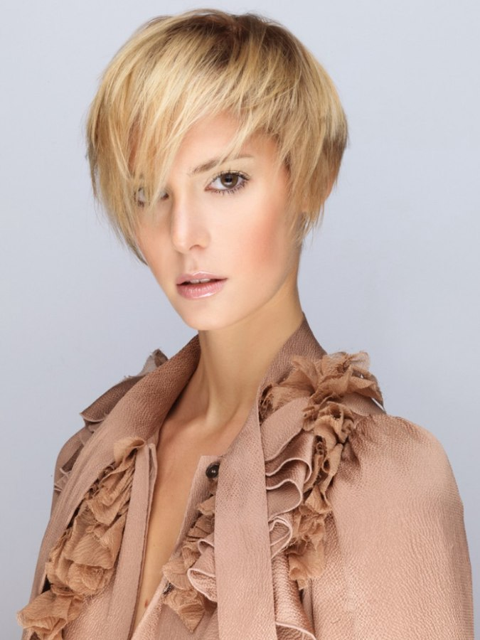 Contemporary short in the back and longer in front hairstyle