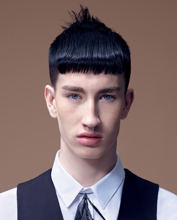 Men S Cut With Short Clipped Hair And A Sleek Fringe Sassoon