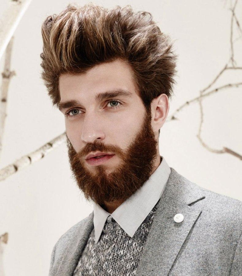 Stylish hair with highlights for men | Full beard